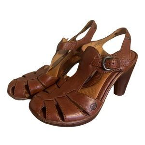 Born Brown Leather T-Strap Heels - Women's Size 9